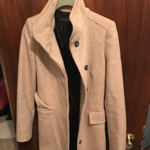 ZRa wool coat beige knee length